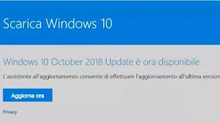 aggiornamento windows 10 ottobre