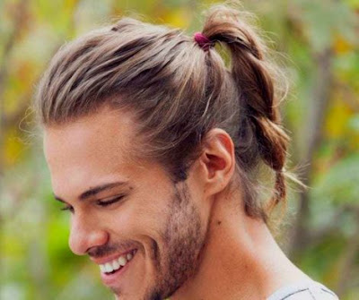 men's long hairstyle - Men Small Ponytail