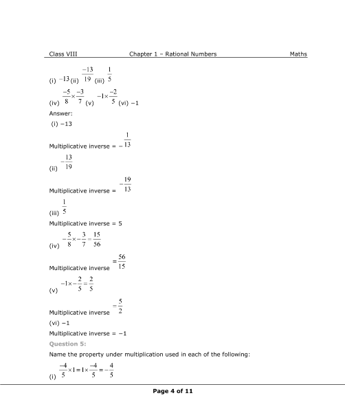 NCERT Solutions for Class 8 Maths Chapter 1 Rational Numbers