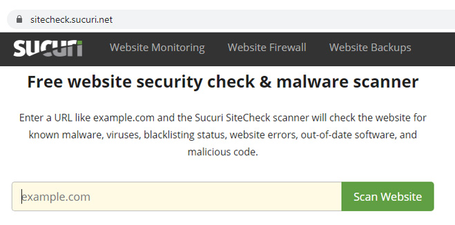 Scan for Malware from Sucuri
