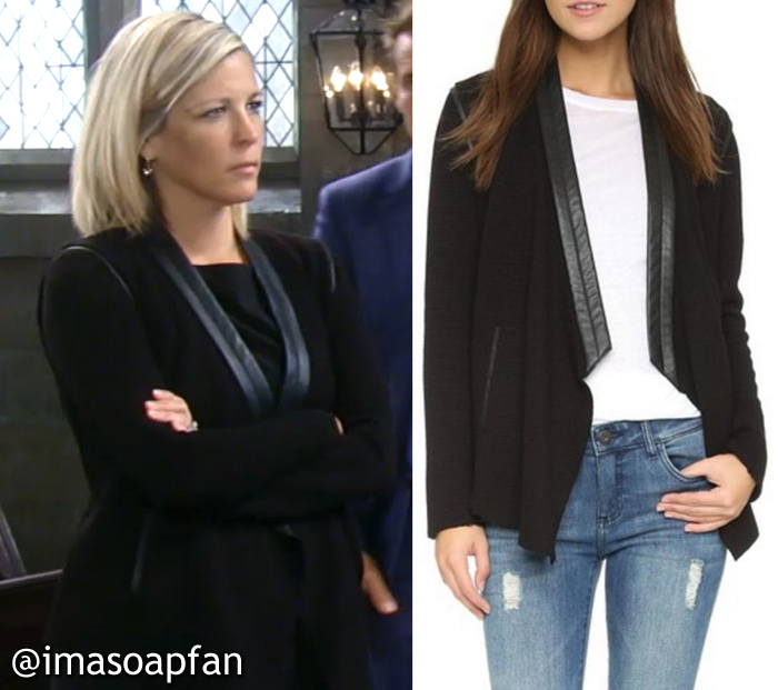 Carly Corinthos, Laura Wright, General Hospital, GH, generation love, Black Blazer with Leather Trim