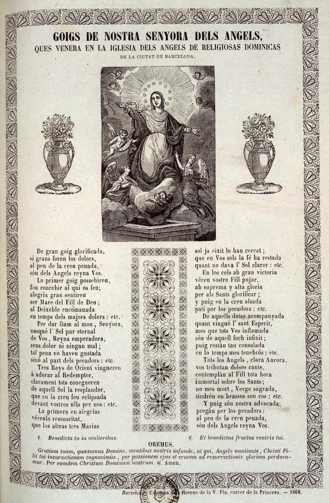 Goigs i devocions populars: Goigs a la Mare de Déu dels Àngels. Església de l...