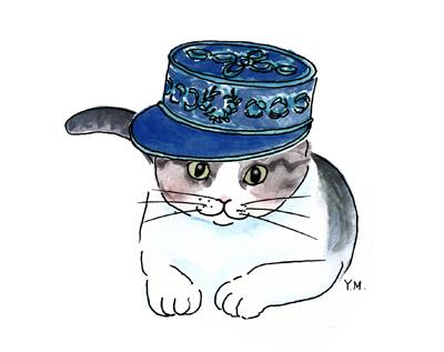 Cat wearing a kepi by Yukié Matsushita