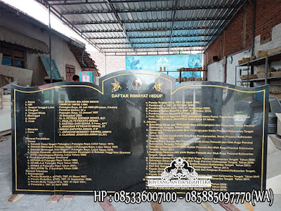 Prasasti Nameboard Granit, Papan Prasasti Daftar Riwayat Hidup, Prasasti Granit Hitam