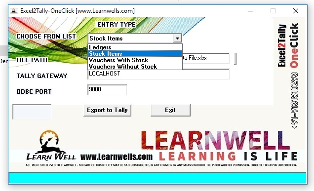 Excel to Tally - LEARN WELL +919131810293