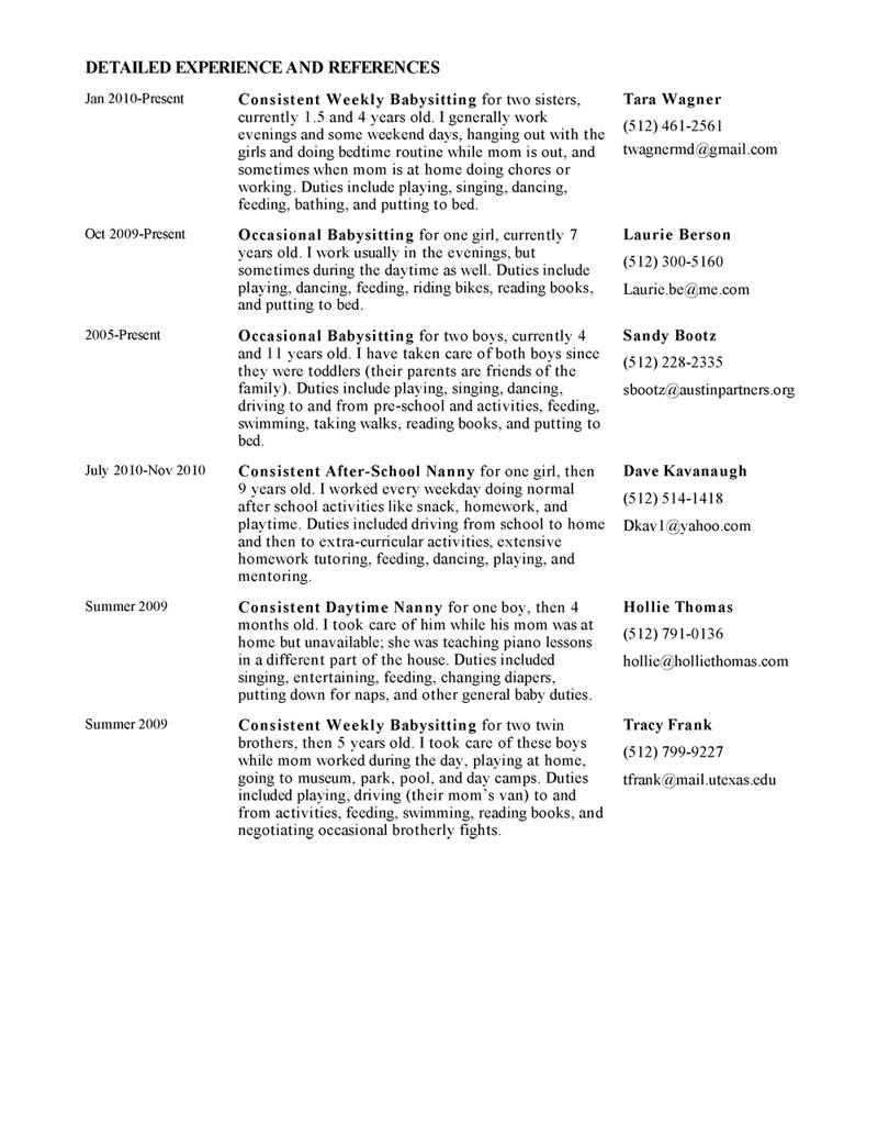 live out nanny resume sample
