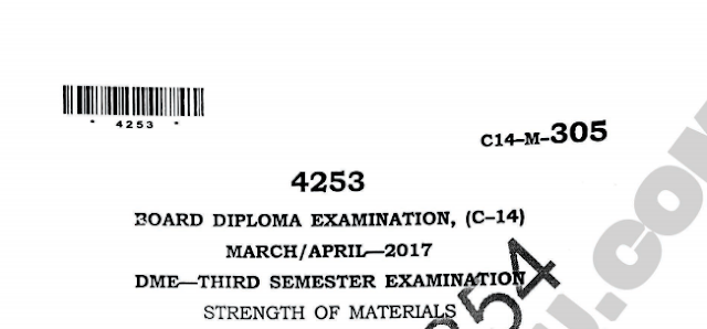 Polytechnic Strength of materials old question papers march/april 2017