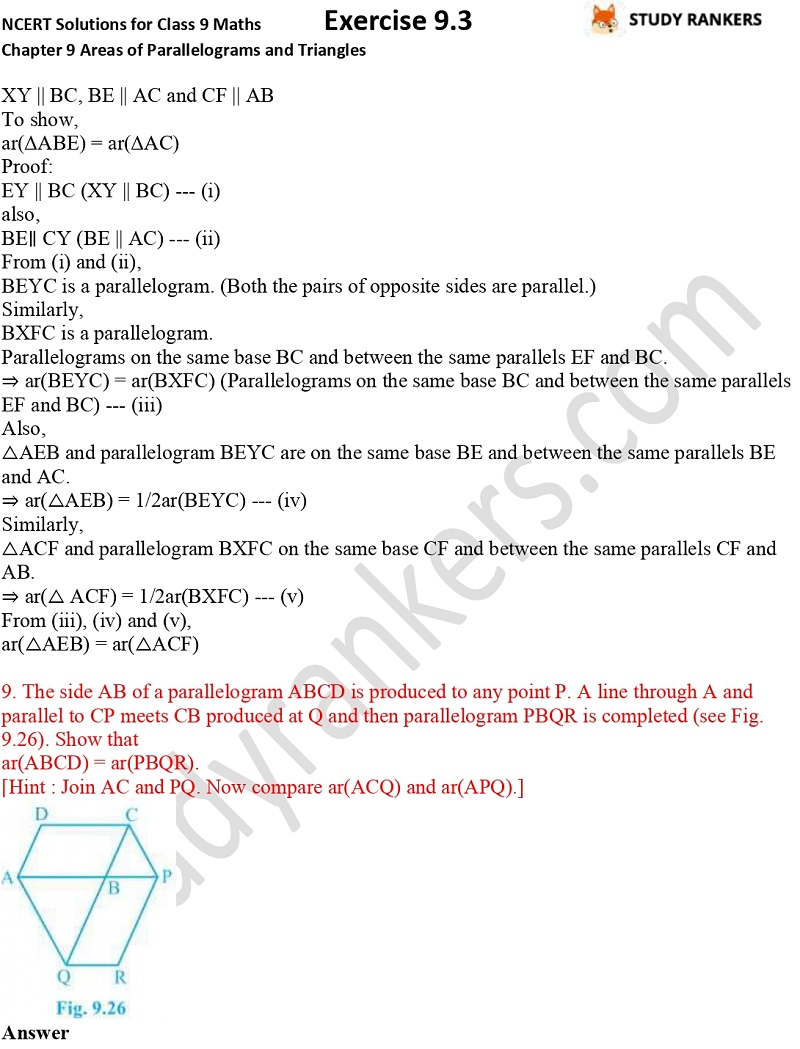 NCERT Solutions for Class 9 Maths Chapter 9 Areas of Parallelograms and Triangles Exercise 9.3 Part 6