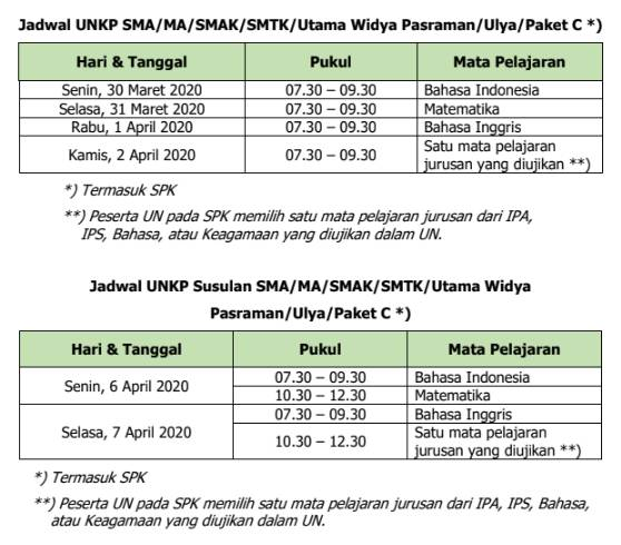 Jadwal UNKP SMA-MA-SMAK-SMTK-Utama Widya Pasraman-Ulya-Paket C