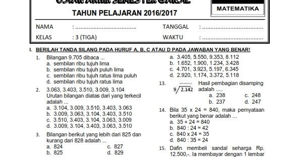 Download Paket Soal Uas Ganjil Kelas 4 Sd Mi Semester 1 Kurikulum 2006 Ktsp Rief Awa Blog