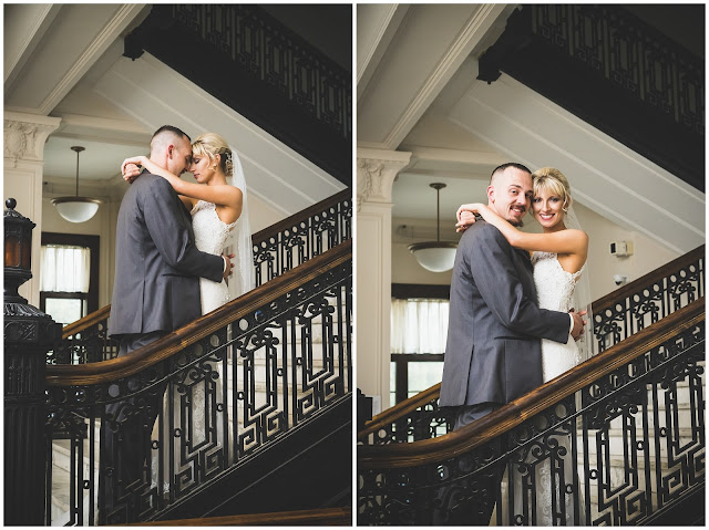 photos of bride and groom on staircase at Le Fer Hall, St Mary of the Woods College