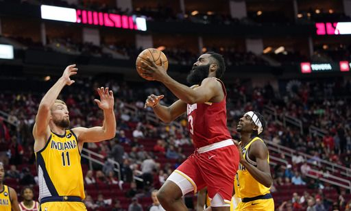 Harden's 44 Points Lead Rockets over Pacers 111-102