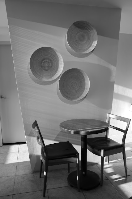 Wall deco at Infusion in Black & white