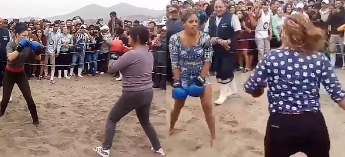 Peruanas y venezolanas se enfrentaron en duelo de boxeo playero| VÍDEO