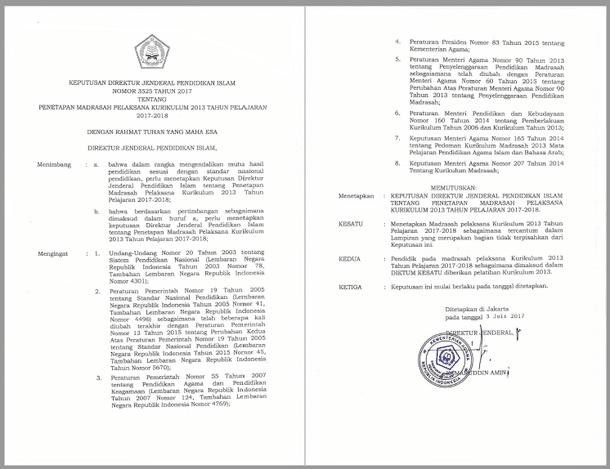 SK Dirjen Pendis Nomor 3525 Tahun 2017 tentang Penetapan Madrasah Pelaksana Kurikulum 2013 Tahun Pelajaran 2017/2018