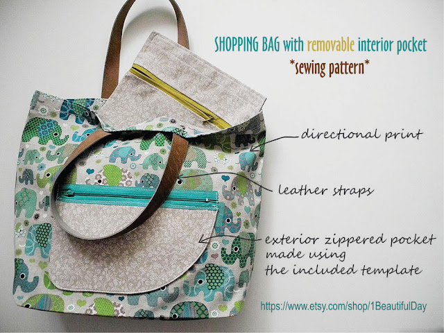 abeeautifulday.blogspot.com Unlined Shopping Bag with Removable Interior Pocket pattern