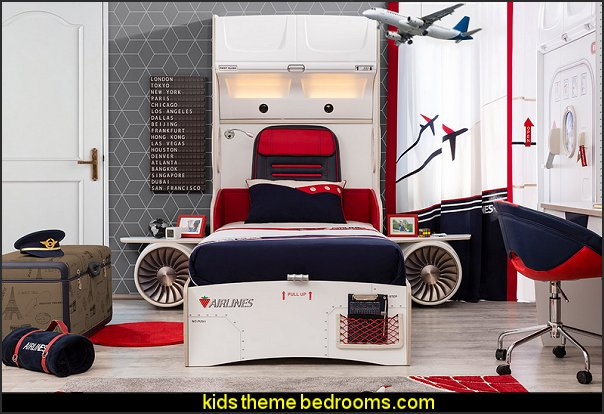 Nice First Class Airplane Twin Storage Bed With Headboard Storage And Two  Airplane Motor And Wings