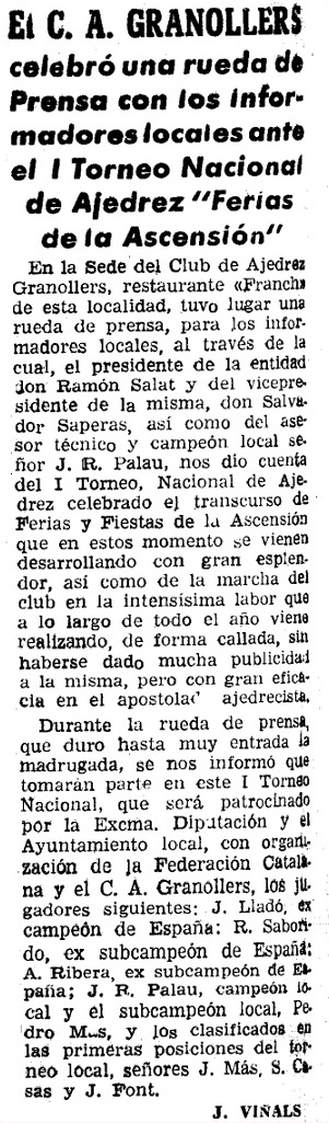 Recorte de prensa sobre el I Torneo Nacional de Ajedrez de Granollers 1964