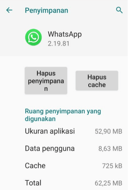 Hapus Cache WhatsApp