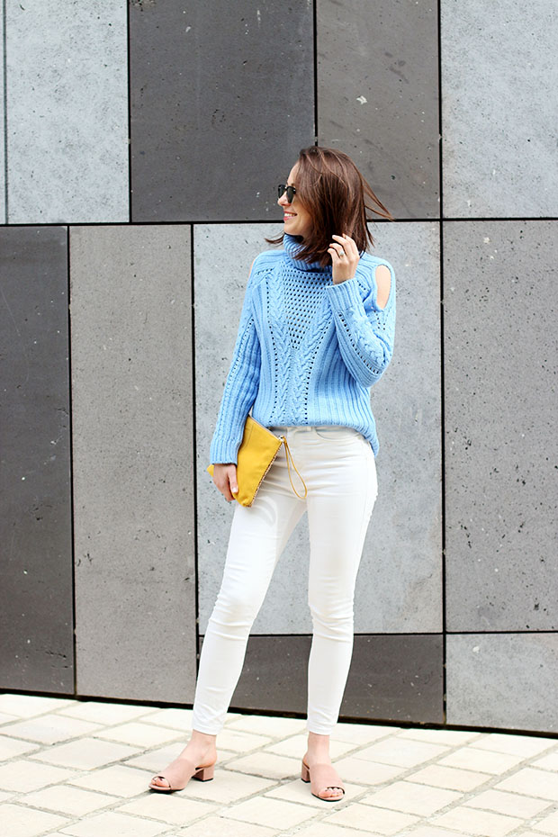 how to style cut out shoulder sweater