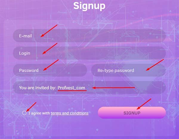 Регистрация в Azgards 2