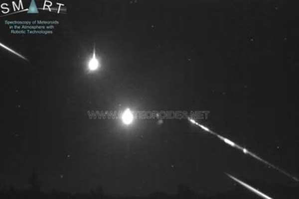 Fotograma del vídeo de la gran bola de fuego sobrevolando España la madrugada del 9 de julio