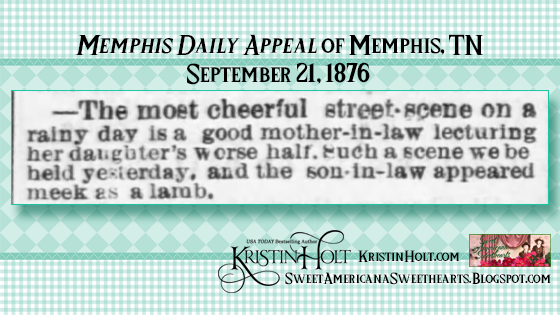 Kristin Holt | the Victorian-American Mother-in-Law. From Memphis Daily Appeal of Memphis, TN on Sept 21, 1876.