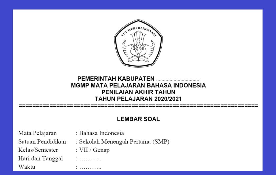 gambar soal pat bahasa indonesia kelas 7 2021