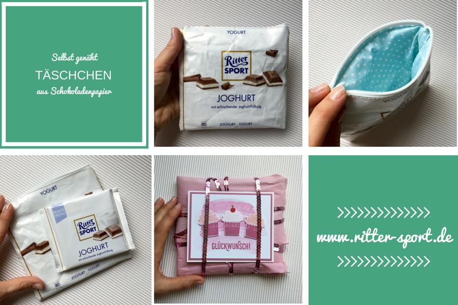 genähtes Täschchen aus der Verpackung einer Tafel Ritter Sport Schokolade mit Reissverschluss