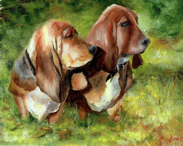 oil painting of First Day of Autumn, two dogs in autumn sunlight, basset hounds in the sun