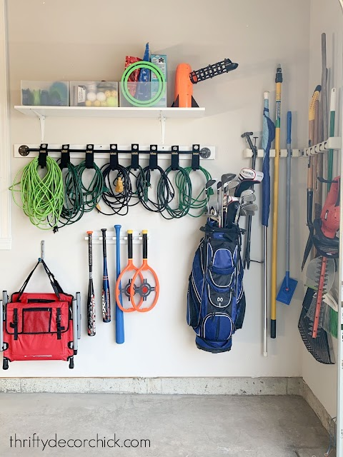 garage corner with hanging storage