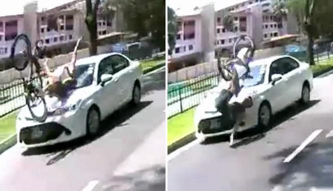 Apes, Pesepeda Ini di 'Buldozer' Mobil Sedan Dari Belakang