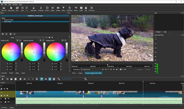 The Editor Window. Shotcut has advanced features like color grading.