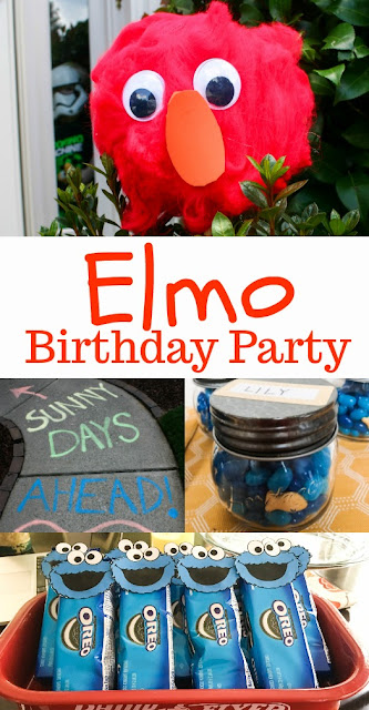Elmo Birthday Party Ideas - sidewalk chalk, Dorothy fish favors, Cookie Monster Oreo favors, Elmo wreath and much more.