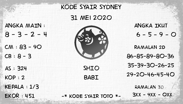 Syair Sidney Minggu 31 Mei 2020 - Kode Syair Sidney