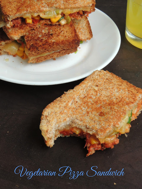 Vegetable pizza sandwich, Vegetarian Pizza sandwich