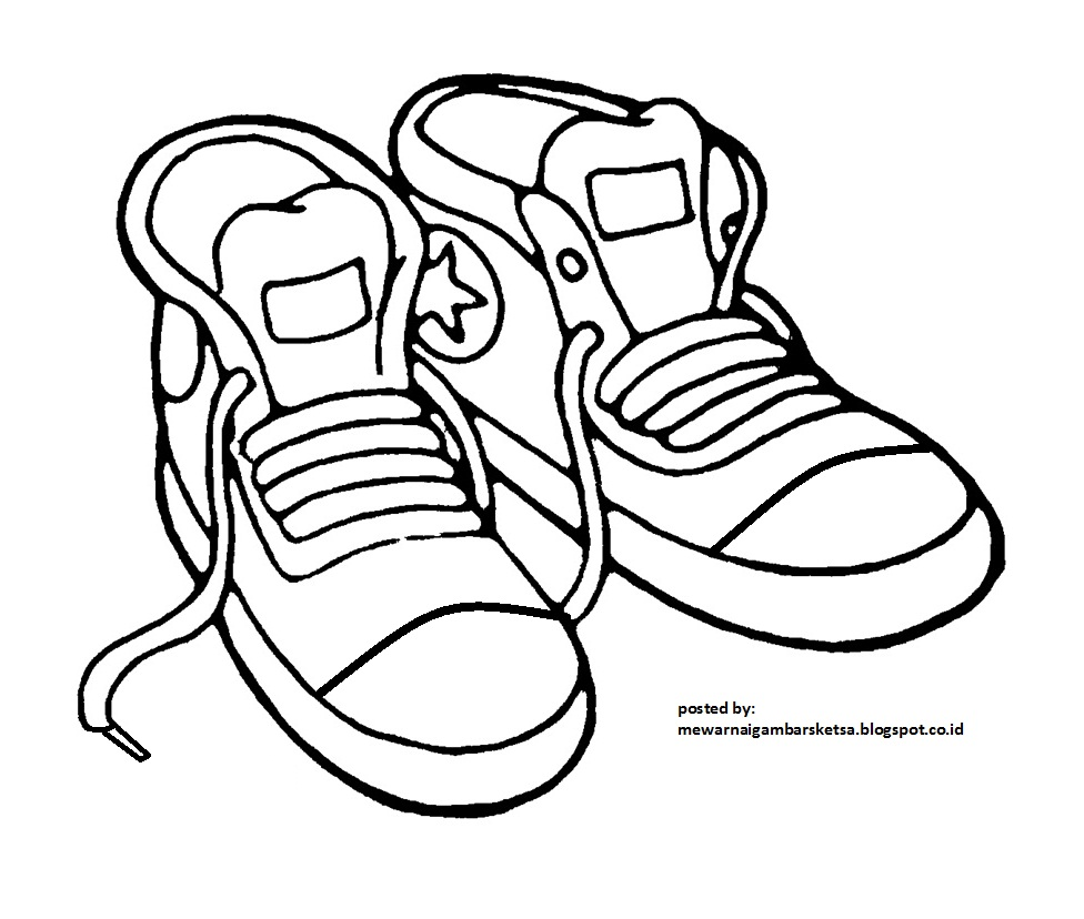 Mewarnai Gambar Mewarnai Gambar Sketsa Sepatu 1