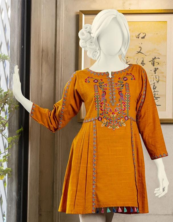 J. Junaid Jamshed winter pret orange color embroidered khaddar kurti for women