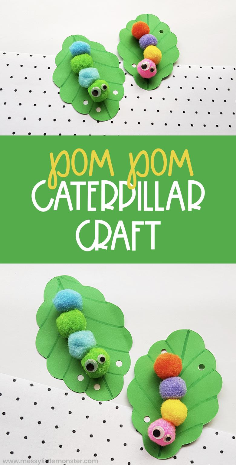 Pom pom caterpillar craft for kids. The Very Hungry caterpillar craft for toddlers and preschoolers.