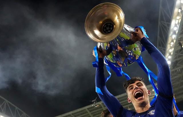 احتفال لاعبى تشيلسي بدورى الأبطال 2021