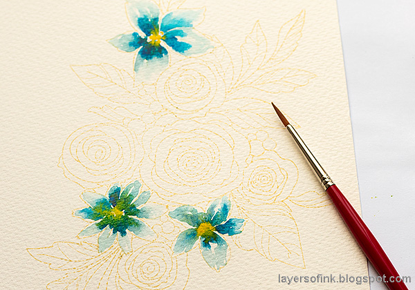 Layers of ink - Watercolor Florals Tutorial by Anna-Karin Evaldsson. Watercolor the flowers.