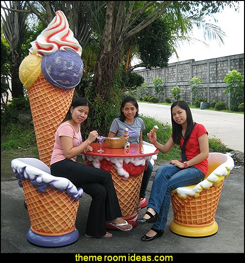 ice cream fiberglass table and chairs circus bedroom ideas - circus theme bedroom decor - carnival theme bedrooms - decorating circus theme bedrooms - Ice Cream theme decor - balloon decor - Disney Dumbo - circus party theme - Roller Coaster Amusement Park wall decals - ice cream party decorations