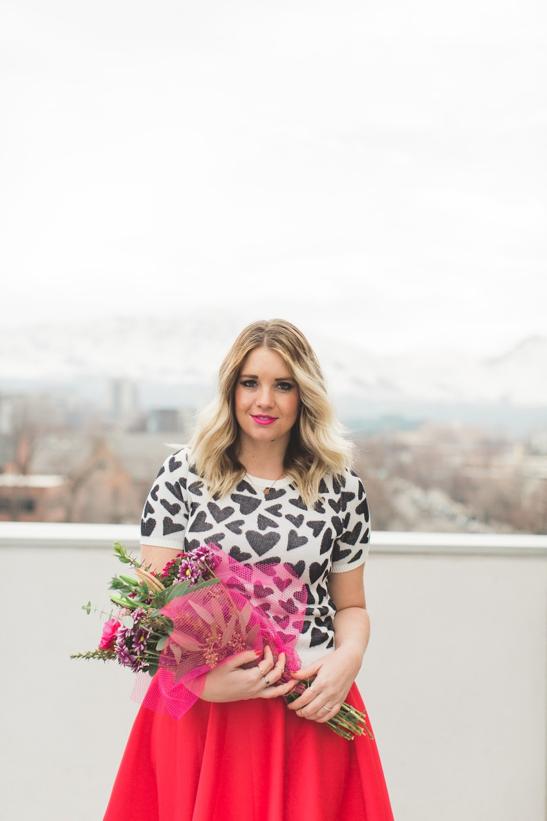 Utah Fashion Blogger, Heart Sweater, Pink Flowers