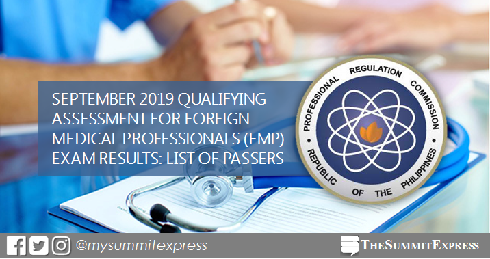 September 2019 Qualifying Assessment for Foreign Medical Professionals passers