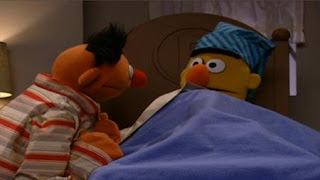 Bert wants to sleep. Ernie prefers watching Bert sleep instead of sleeping. Ernie sings a song about sleep. Sesame Street Bedtime with Elmo