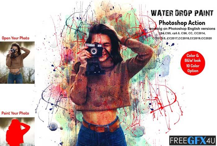 Water Drop Paint Photoshop Action