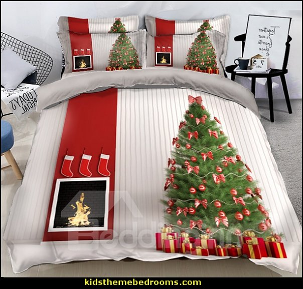 Christmas Tree with Bow and Stove Printed 3D 4-Piece Bedding Sets    Christmas decorating ideas - Christmas decor - Christmas decorations - Christmas kitchen decor - santa belly pillows - Santa Suit Duvet covers - Christmas bedding - Christmas pillows - Christmas  bedroom decor  - winter decorating ideas - winter wonderland decorating - Christmas Stockings Holiday decor Santa Claus - decorating for Christmas - 3d Christmas cards - xmas tree decor