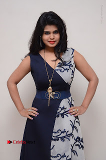 Telugu Actress Alekhya Stills in Blue Long Dress at Plus One ( 1) Audio Launch  0035.jpg