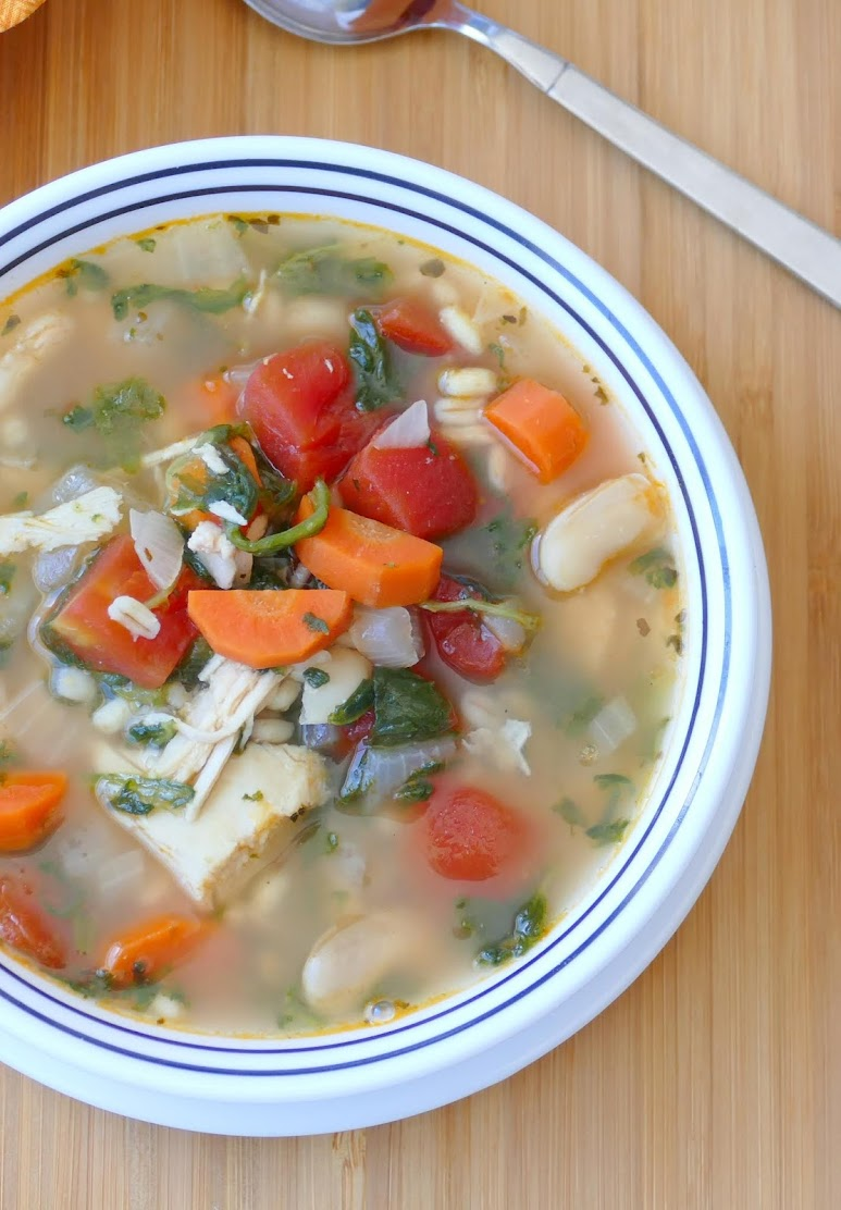 This delicious and filling soup is full of tender chicken breast, tomatoes, carrots, spinach and barley! The perfect fall or winter lunch or dinner! Freeze or refrigerate leftovers for later!