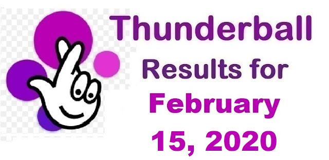 Thunderball Results for Saturday, February 15, 2020